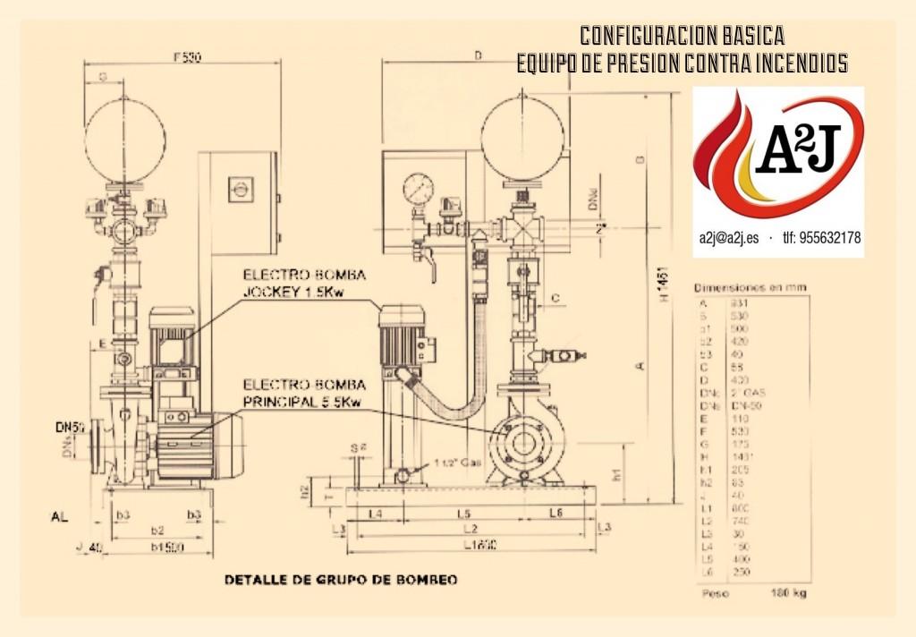 medidas de equipos de presion contra incendios