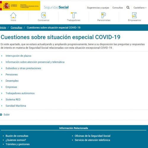 ACTUALIDAD CORONAVIRUS – Enlace actualizado Cuestiones sobre la situación especial COVID-19